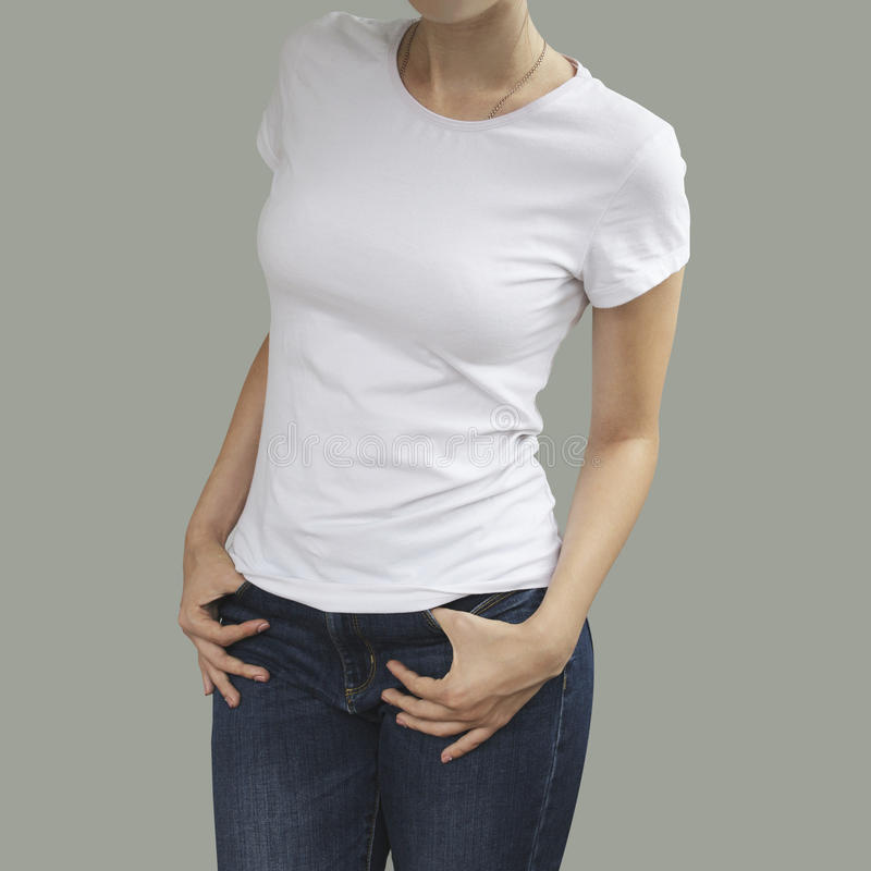 Young beautiful female with blank white shirt, front. Ready royalty free stock photos