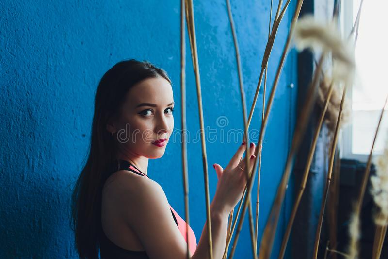 Young beautiful sexy woman in red body. royalty free stock photos