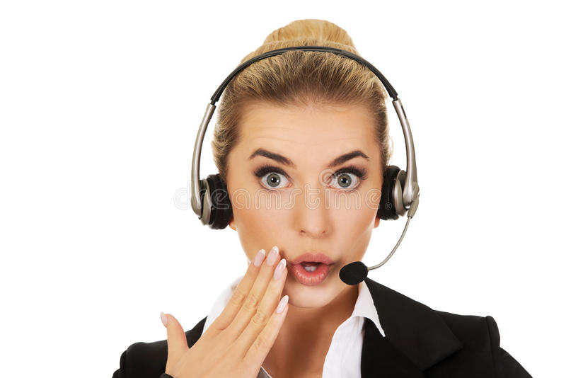 Young beautiful shocked helpline operator stock images