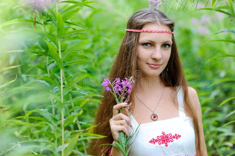 A young beautiful Slavic girl with long hair and a Slavic ethnic dress stands among the tall undergrowth in the summer forest and royalty free stock image