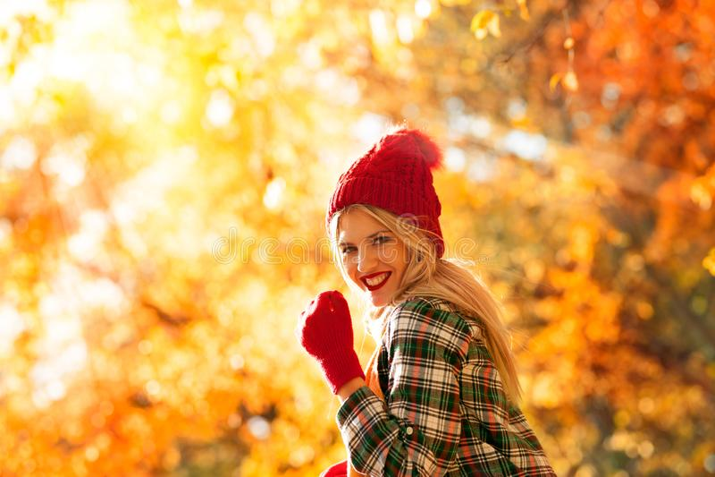 Outdoor portrait in autumn royalty free stock photography