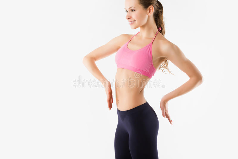 Download Young Beautiful Sports Girl On A Neutral Background Stock Photo - Image: 40092274