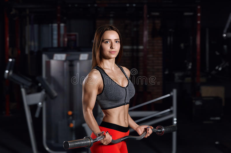 Young beautiful sportswoman doing exercises in the gym. royalty free stock images