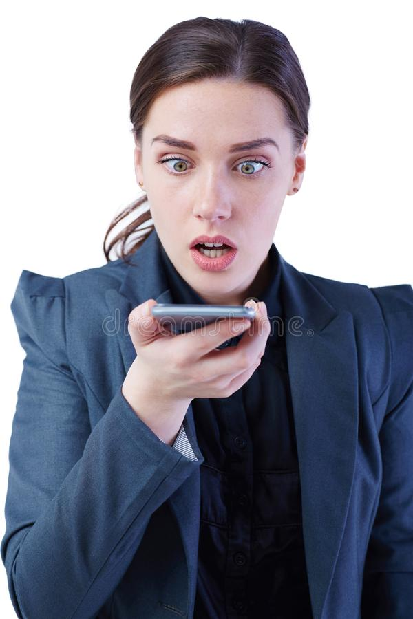 Young beautiful stressed office worker business woman receiving bad news phone call. Disputes,problems,Complaint stock image