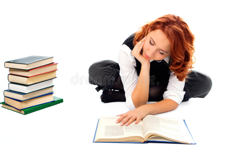 Download Young Beautiful Student Girl Read Book Stock Photo - Image: 1741240
