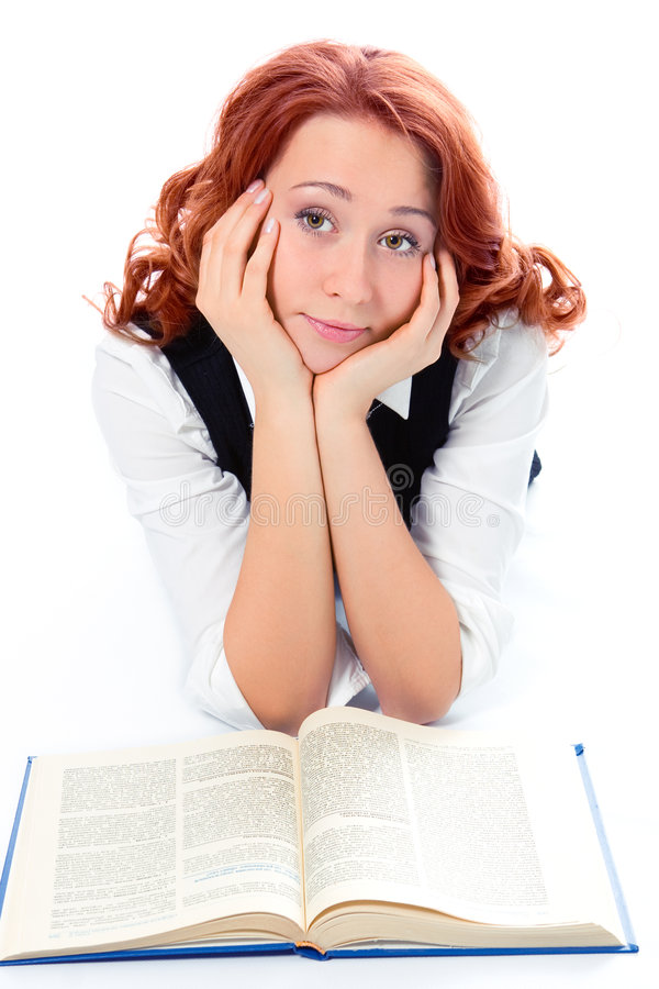 Download Young Beautiful Student Girl Read Book Stock Photo - Image: 1908470
