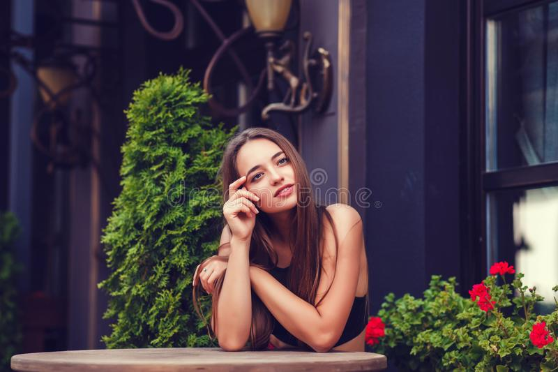 Stylish woman wearing street style royalty free stock photos