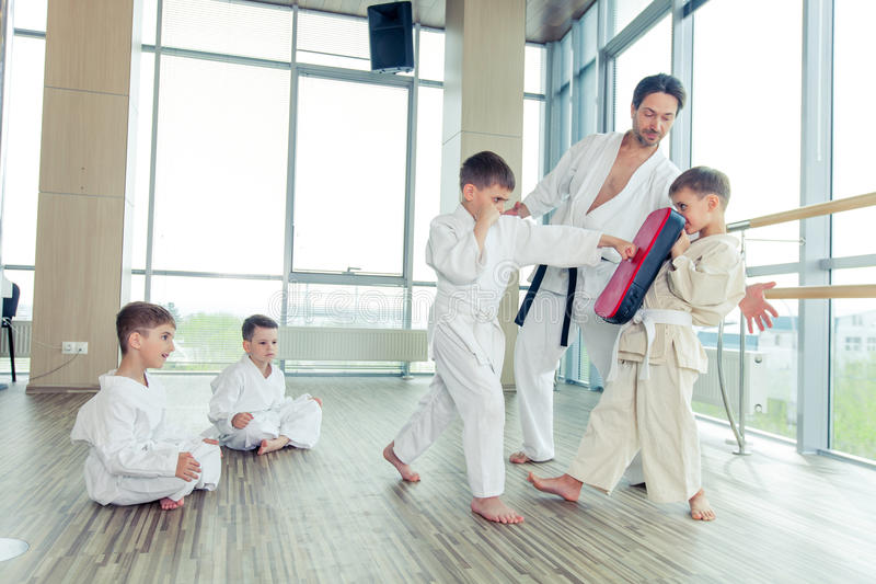 young, beautiful, successful multi ethical kids in karate positi stock image