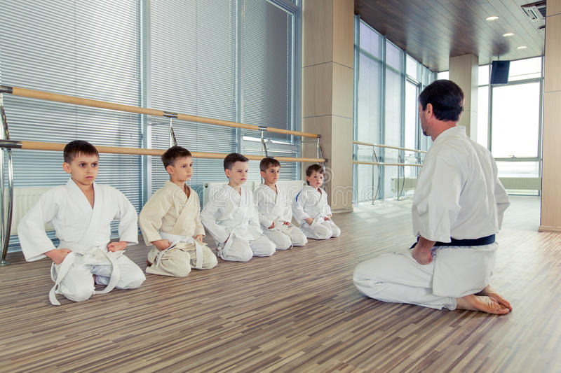 Young, beautiful, successful multi ethical kids in karate position. Young, beautiful, successful multi ethical karate kids in karate position royalty free stock images