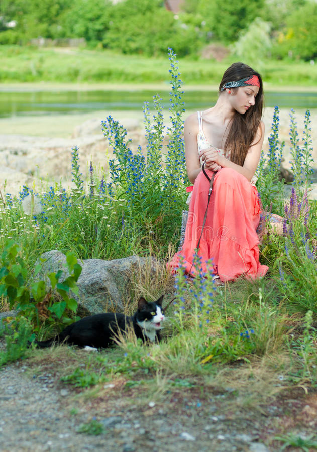 Download Young Beautiful Teenage Girl & Cat On Lead Stock Image - Image: 25512701