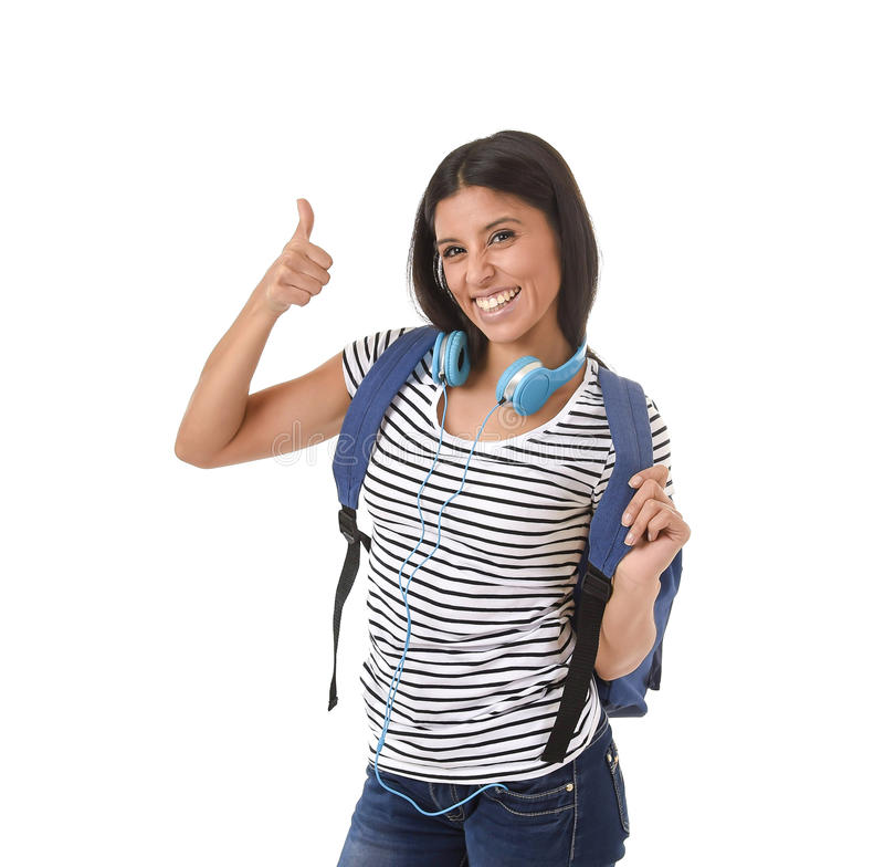 Download Young Beautiful And Trendy Latin Student Girl Carrying Backpack Smiling Happy And Confident Stock Photo - Image of backpack, latin: 87009054