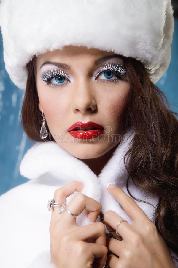 Young beautiful winter woman stock images