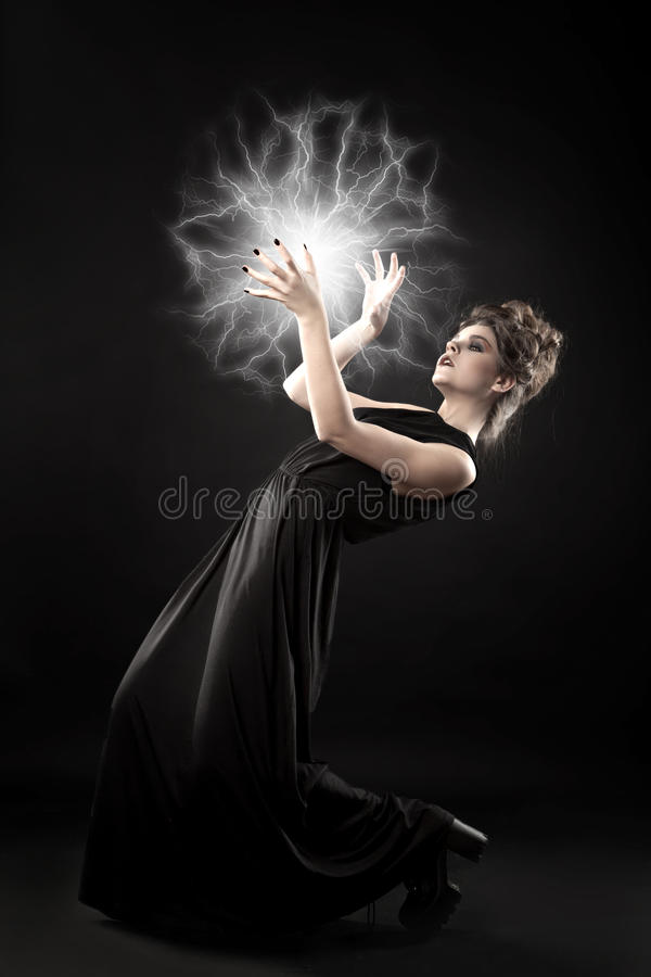 Young beautiful witch. stock photography