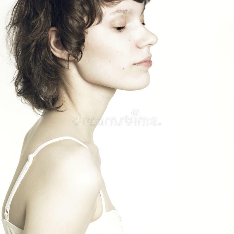 Young beautiful woman. Portrait of young beautiful wooman. Studio photo stock photos