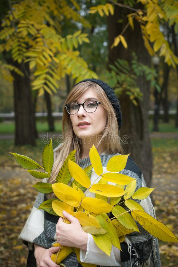 Young beautiful woman in autumn park royalty free stock images