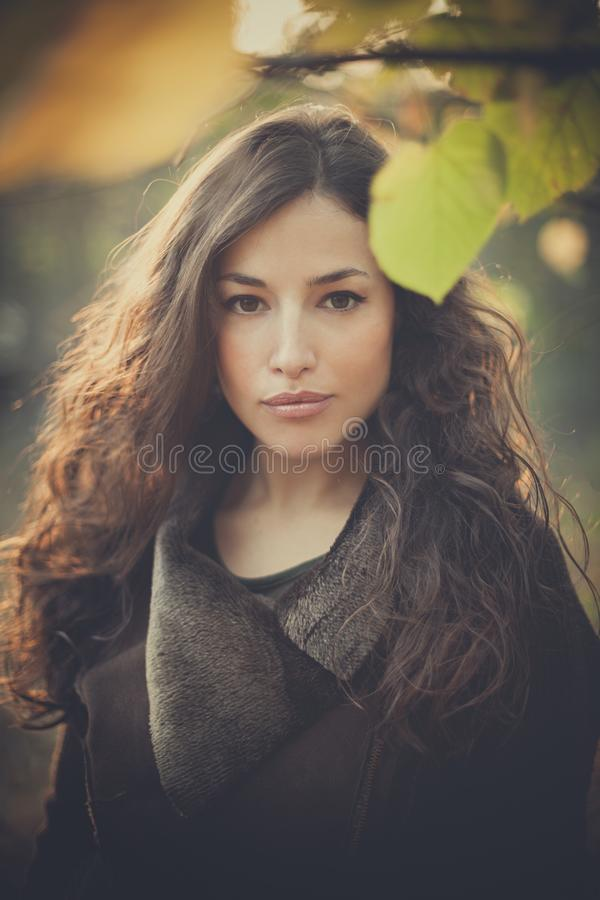 Young beautiful woman autumn portrait in forest. C royalty free stock images