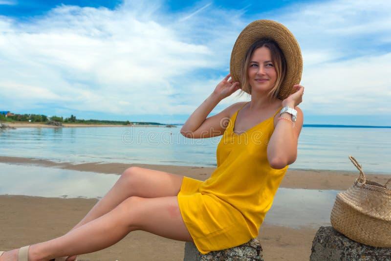 Young beautiful woman in beach stock photo