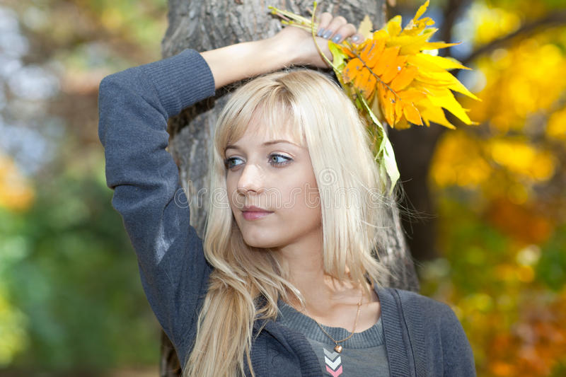 Young beautiful woman with a bouquet of autumn leaves royalty free stock photos