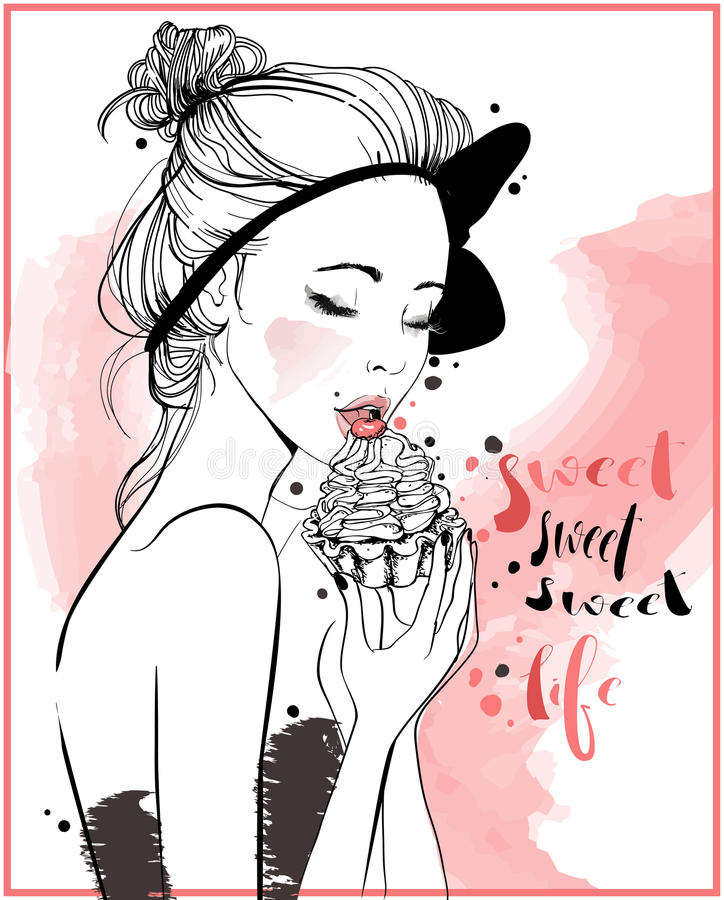 Young beautiful woman with cake. Portrait of young beautiful woman with cake vector illustration