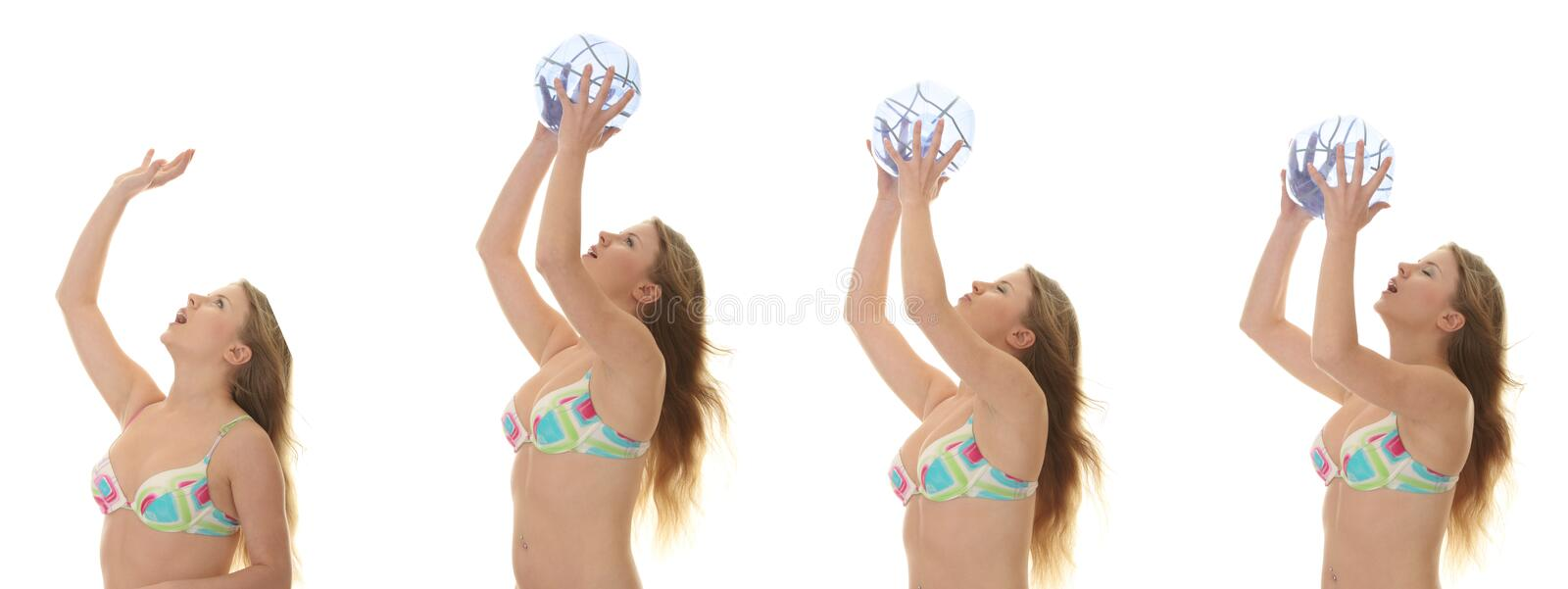 Young beautiful woman catching a beach ball royalty free stock images