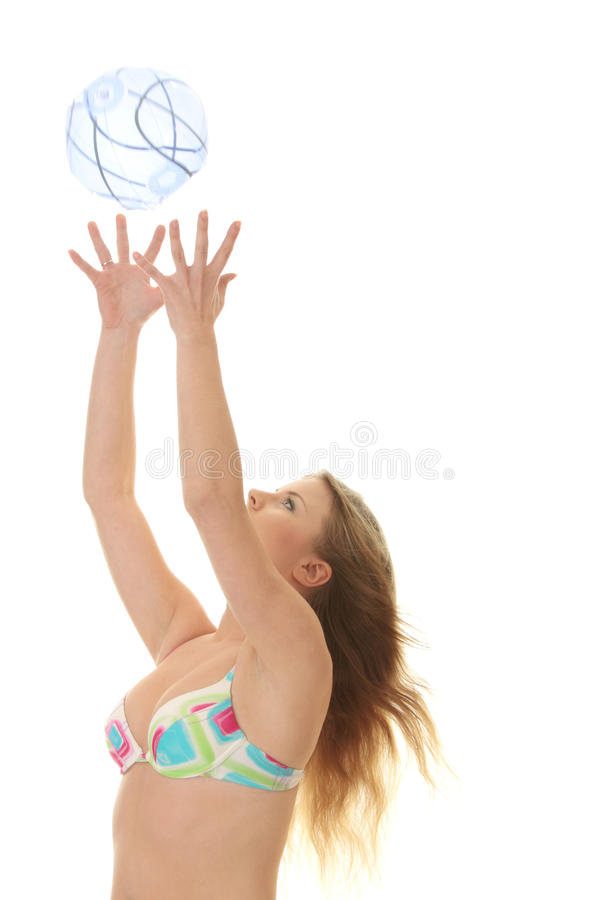 Download Young Beautiful Woman Catching A Beach Ball Stock Photos - Image: 9468233