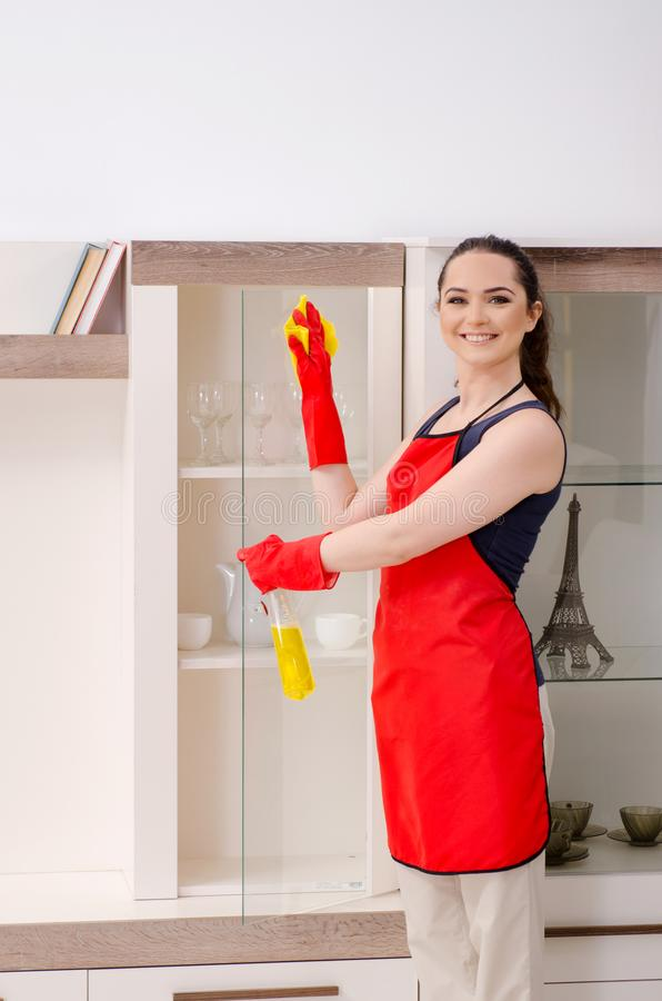 The young beautiful woman cleaning apartment stock image