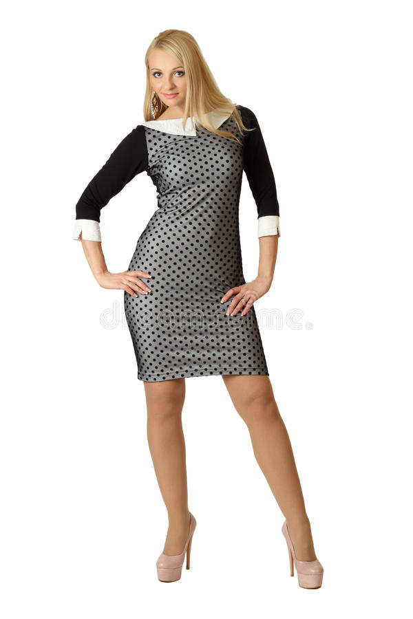 Young beautiful woman in cocktail dress. royalty free stock photos
