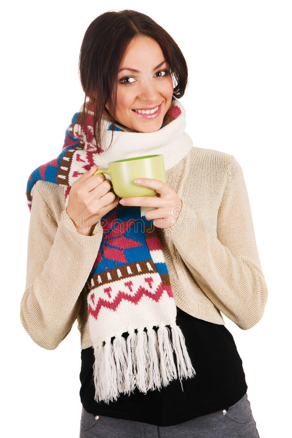 Young beautiful woman with a cup of tea stock photography