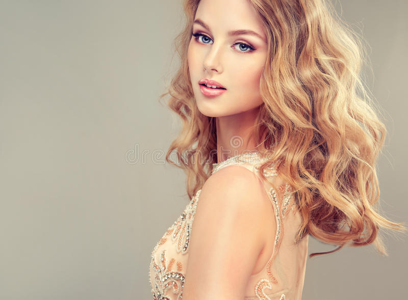 Young Beautiful Woman, Dressed In Evening Gown. Stock Photo - Image ...
