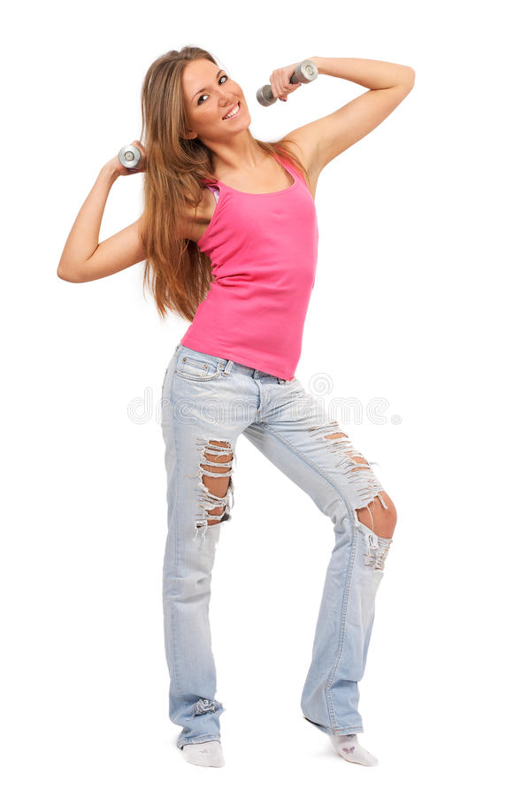 Download Young Beautiful Woman With Dumbbells Stock Image - Image: 12801207