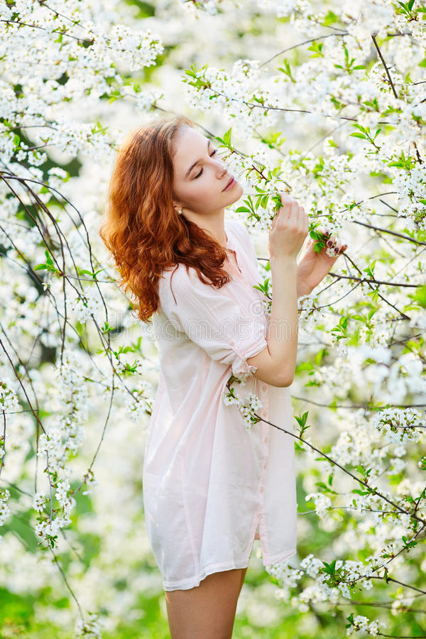 Young beautiful woman enjoying smell of blooming tree on a sunny royalty free stock photos
