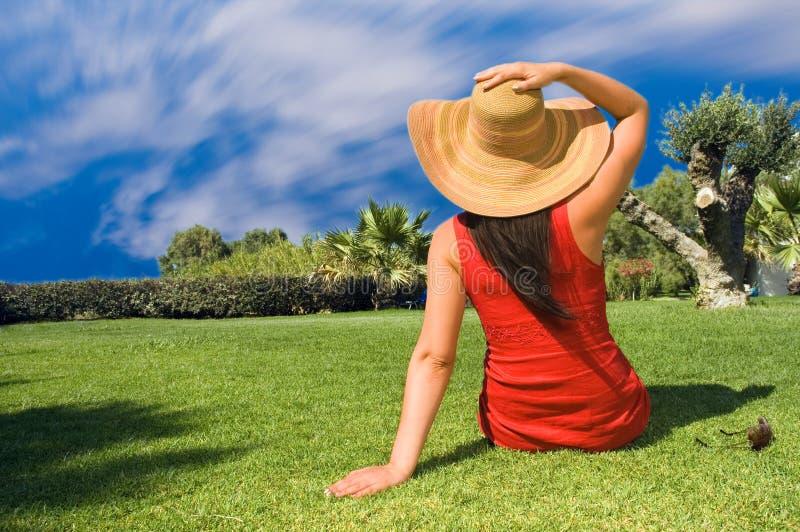 Download Young Beautiful Woman Enjoying The Sun Stock Image - Image of grass, beauty: 7895439