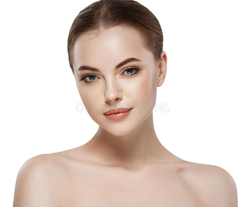 Young beautiful woman face close-up beauty portrait with healthy nature skin and perfect make-up royalty free stock photo