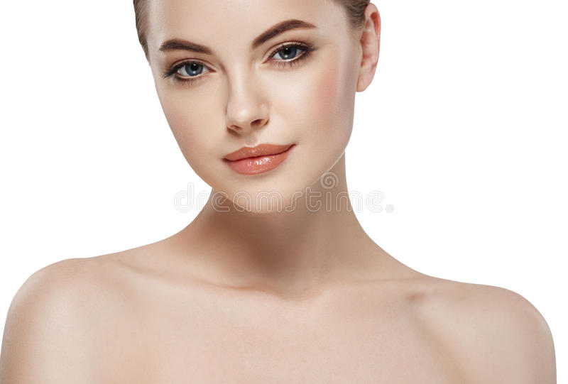 Young beautiful woman face close-up beauty portrait with healthy nature skin and perfect make-up. Young beautiful woman face close-up beauty studio portrait with stock image