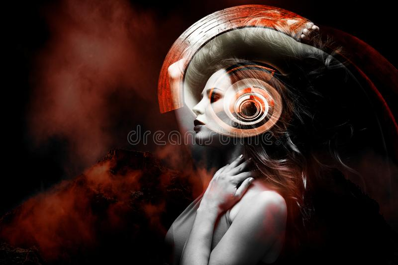 Young beautiful woman fantasy portrait double exposure royalty free stock photos