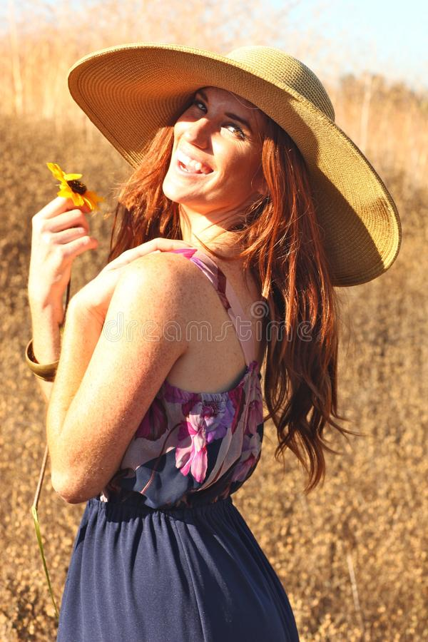 Download Young Beautiful Woman On A Field In Summer Time Stock Image - Image of female, friendly: 20104173