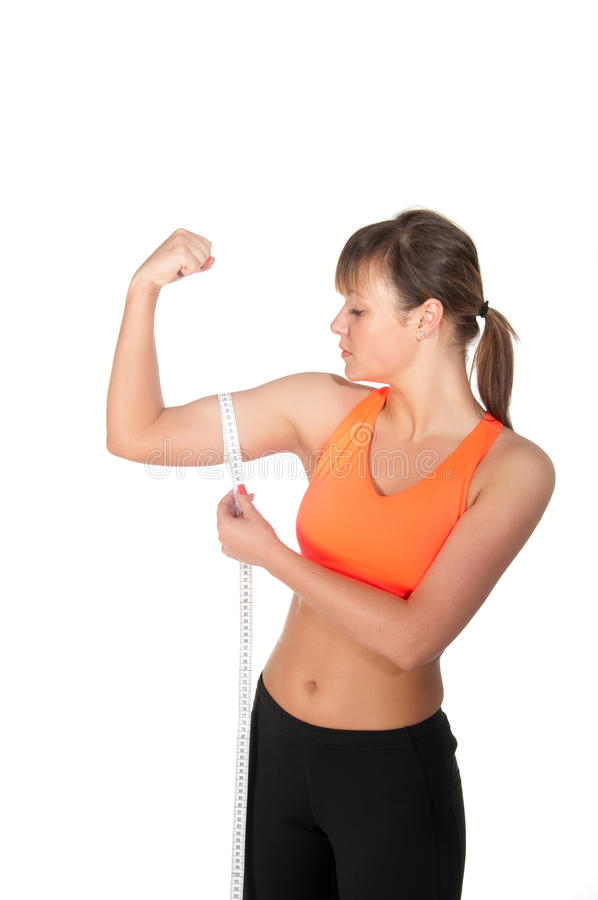 Young beautiful woman after fitness time and exercising royalty free stock photo