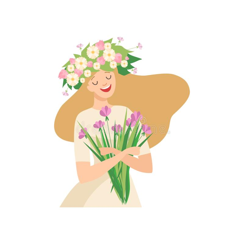 Young Beautiful Woman with Flower Wreath in Her Hair, Portrait of Elegant Blonde Girl with Floral Wreath and Bouquet of. Wild Flowers Vector Illustration on royalty free illustration