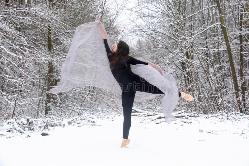 Young beautiful woman girl ballerina with long hair in black ballet suit jumps and dances on toe peak in snowy winter forest stock image