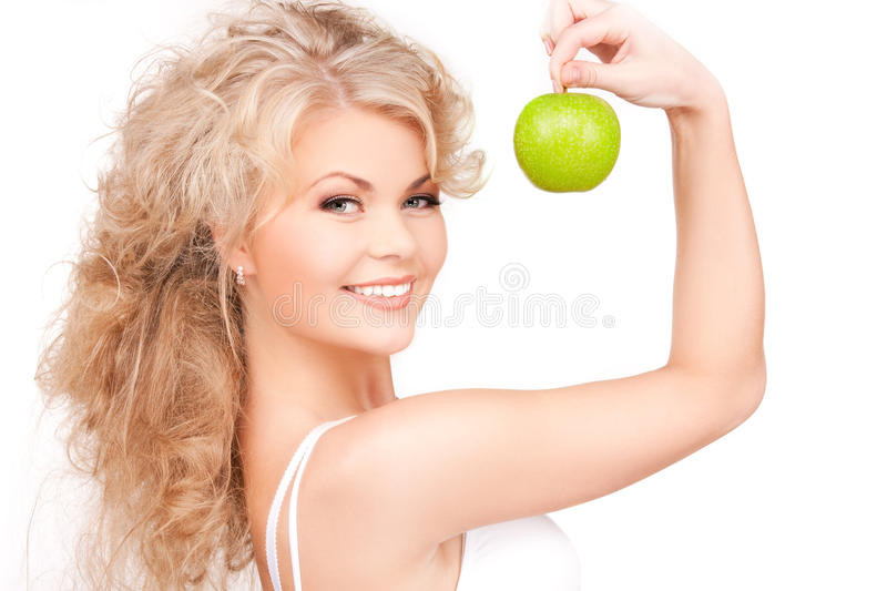 Download Young Beautiful Woman With Green Apple Stock Image - Image: 13246523
