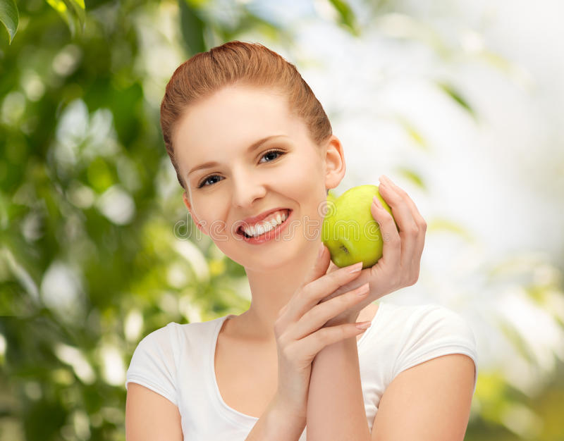 Download Young Beautiful Woman With Green Apple Stock Image - Image: 38075511