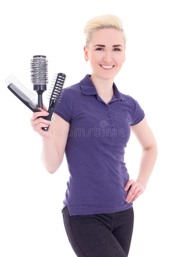 Young beautiful woman hairdresser isolated on white. Background stock image