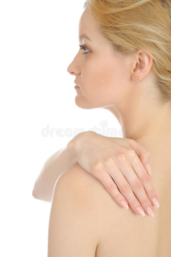 Young beautiful woman with hand on her back