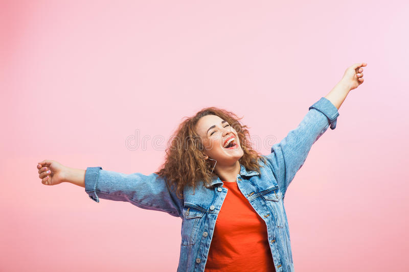 Young and beautiful woman, happiness, success, emotion, joy royalty free stock photo