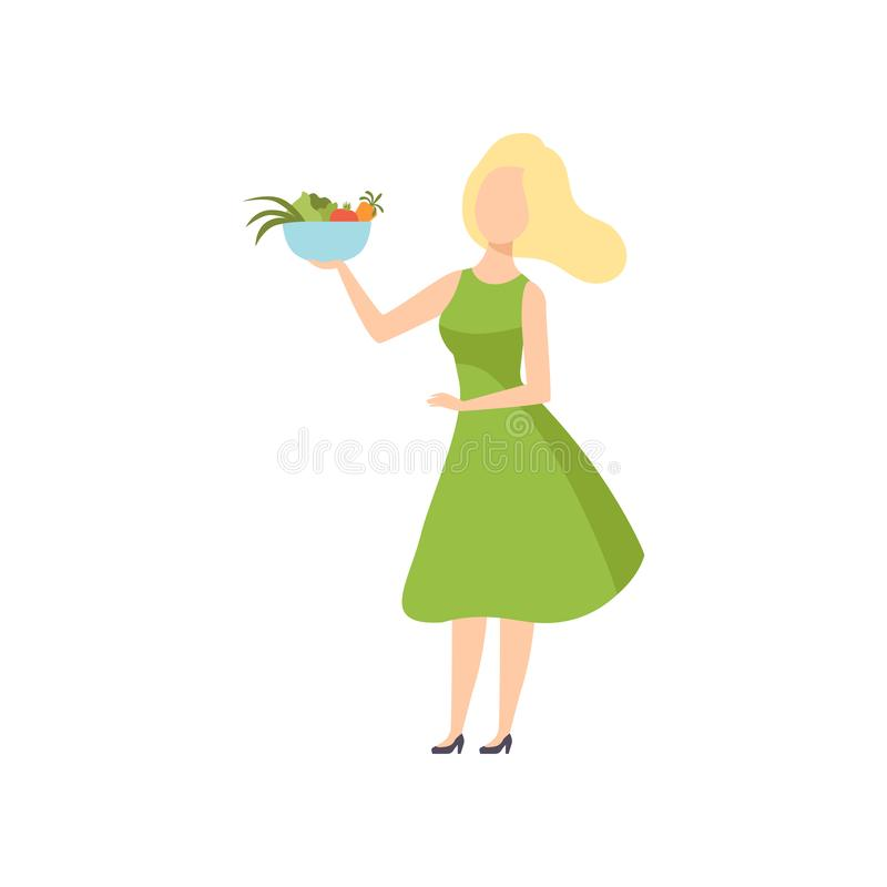 Young beautiful woman holding a bowl of vegetables, healthy eating, diet, organic vegan food vector Illustration stock illustration