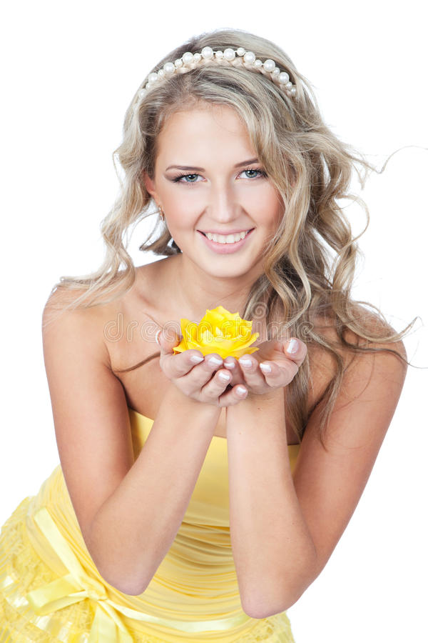Young Beautiful Woman Holding Flower In Her Hands Stock ...