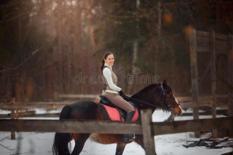 Young beautiful woman with horse outdoor portrait at spring day. Horseback style royalty free stock photos
