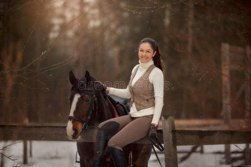 Young beautiful woman with horse outdoor portrait at spring day royalty free stock photos