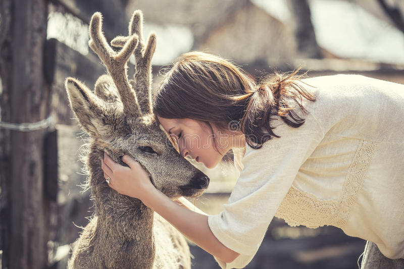 Young beautiful woman hugging animal ROE deer in the sunshine. Protecting an animal stock photography