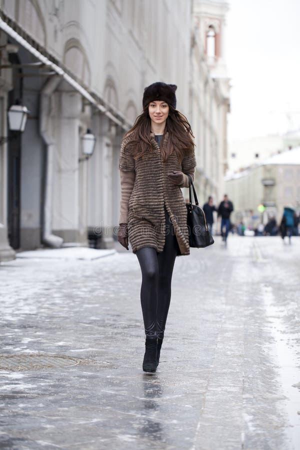 Free Young Beautiful Woman In Stylish Mink Coat Stock Photo - 49990980